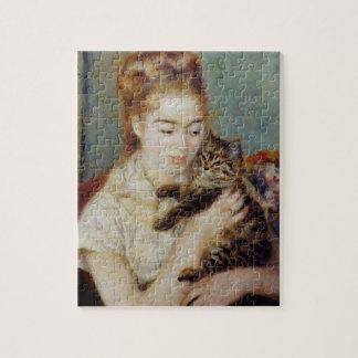 ピエール=オーギュスト・ルノワール著猫を持つ女性 ジグソーパズル
