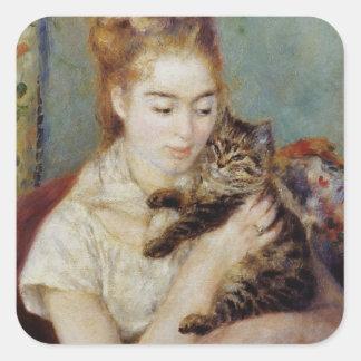 ピエール=オーギュスト・ルノワール著猫を持つ女性 スクエアシール