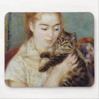 ピエール=オーギュスト・ルノワール著猫を持つ女性 マウスパッド