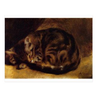 ピエール=オーギュスト・ルノワール著睡眠猫 ポストカード