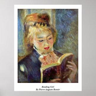 ピエール=オーギュスト・ルノワール著読書女の子 ポスター