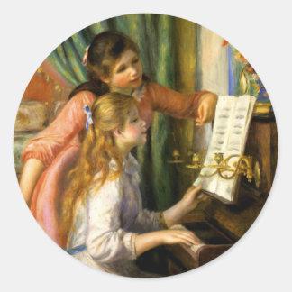 ピエール=オーギュスト・ルノワール- Jeunes Fillesのauのピアノ ラウンドシール
