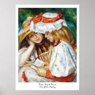 ピエールAugusteルノアールの絵を描くことを読んでいる2人の女の子 ポスター