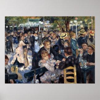ピエールAugusteルノアール著Le Moulin deのla Galette ポスター