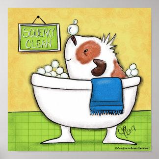 ピカピカのきれいなモルモットの泡風呂 ポスター
