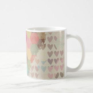ピクセルデジタル虹のハート コーヒーマグカップ