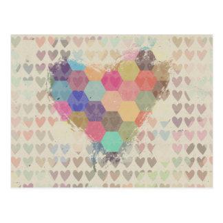 ピクセルデジタル虹のハート ポストカード
