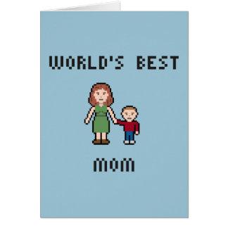 ピクセル世界で最も最高のなお母さんの挨拶状 カード