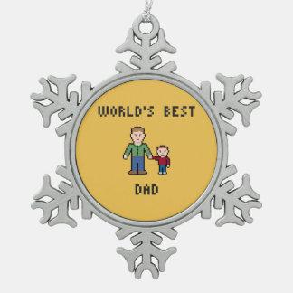 ピクセル世界で最も最高のなパパのピューターの雪片のオーナメント スノーフレークピューターオーナメント