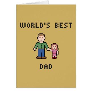 ピクセル世界で最も最高のなパパの挨拶状 カード