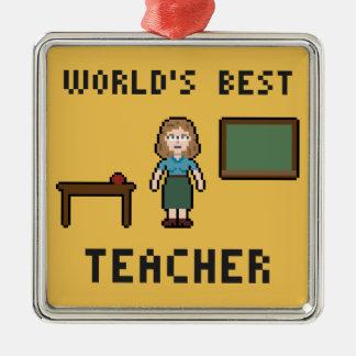 ピクセル世界で最も最高のな先生のオーナメント メタルオーナメント