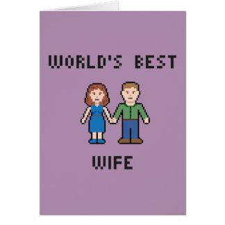ピクセル世界で最も最高のな妻の挨拶状 カード