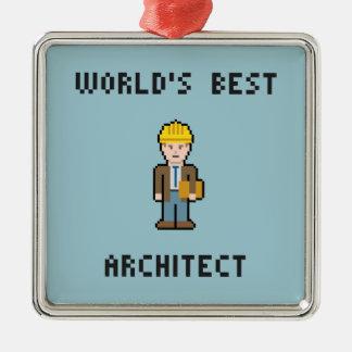 ピクセル世界で最も最高のな建築家 メタルオーナメント