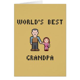 ピクセル世界で最も最高のな祖父の挨拶状 カード