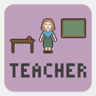 ピクセル学校教師のステッカー スクエアシール