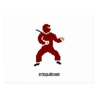 ピクセル忍者の赤 ポストカード