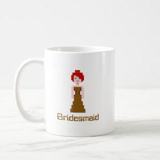ピクセル新婦付添人-ブラウン コーヒーマグカップ