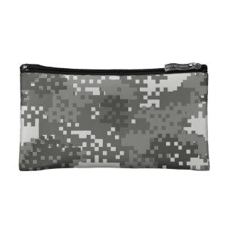 ピクセル灰色及び白い都市カムフラージュ コスメティックバッグ
