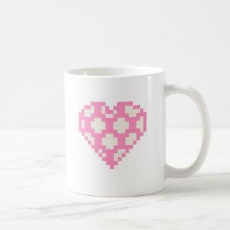 ピクセル芸術のむらがあるハート コーヒーマグカップ