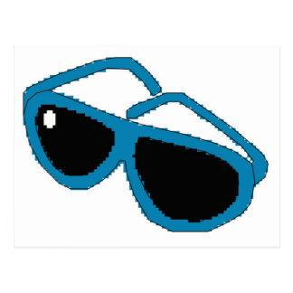 ピクセル芸術の青のサングラス ポストカード