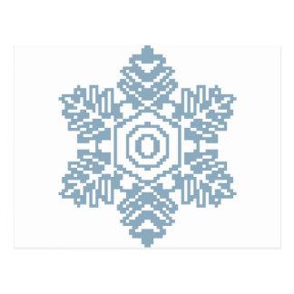 ピクセル芸術の青の雪片 ポストカード