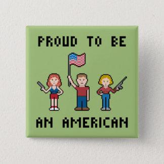 ピクセル誇り高いアメリカ人 缶バッジ