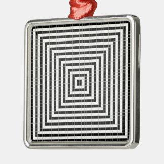 ピクセル錯覚パターン シルバーカラー正方形オーナメント