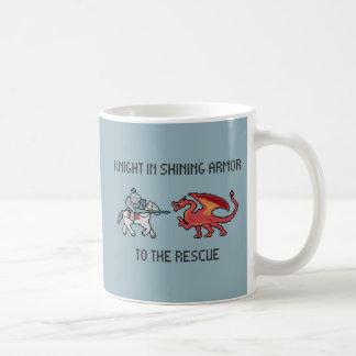 ピクセル騎士対ドラゴンのマグ コーヒーマグカップ