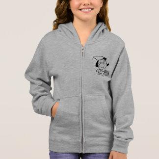 ピクニック女の子のフード付きスウェットシャツで行っている小さな女の子 スウェットシャツ