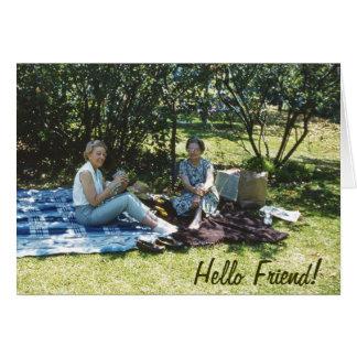 ピクニック毛布に外で坐っている1962人の女性 カード