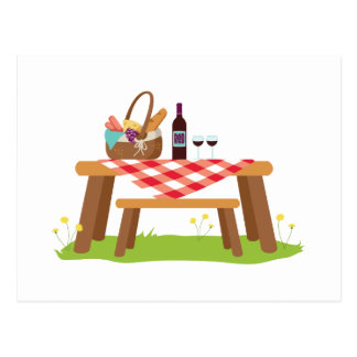 ピクニック用のテーブルのバスケットのワイン ポストカード