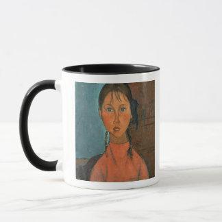 ピグテール、c.1918 (キャンバスの油)を持つ女の子 マグカップ