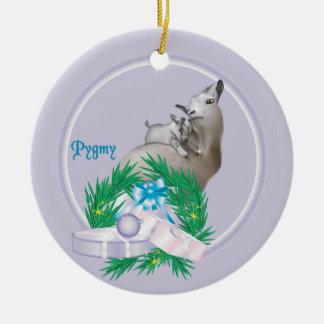 ピグミーのヤギのリースの休日のオーナメント セラミックオーナメント