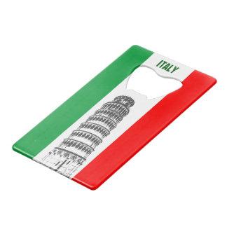 ピサおよびイタリアンな旗のカスタマイズ斜塔 ウォレット ボトルオープナー