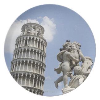 ピサおよび彫像、イタリアの斜塔 プレート