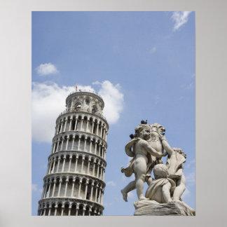 ピサおよび彫像、イタリアの斜塔 ポスター