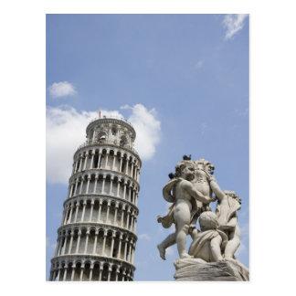 ピサおよび彫像、イタリアの斜塔 ポストカード