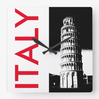 ピサのミニマリストの時計の斜塔 スクエア壁時計