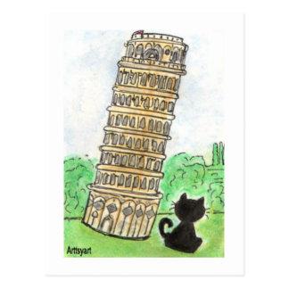 ピサの芸術の黒猫のNoir雑談の斜塔 ポストカード