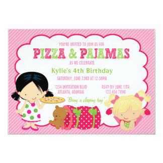 ピザおよびパジャマのSleepoverのパーティー カード