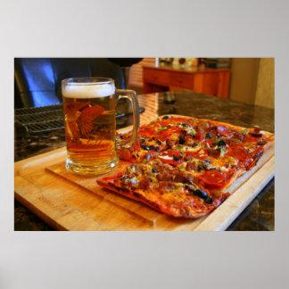 ピザおよびビール ポスター