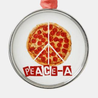 ピザおよび平和恋人のための平和 メタルオーナメント
