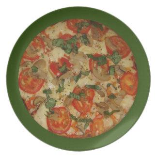 ピザを得よう! 緑は野菜ピザプレートに縁を付けました プレート