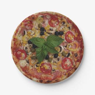 ピザデラックスな紙皿7つ ペーパープレート