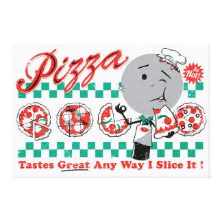 """ピザ方法I切れそれレトロのキャンバス- 3/4""""厚く キャンバスプリント"""