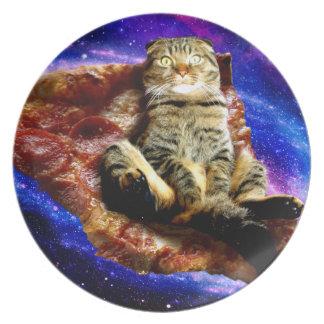 ピザ猫-熱狂するな猫-宇宙の猫 プレート