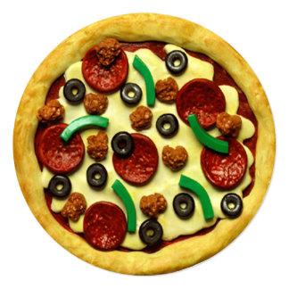ピザ誕生日のパーティの招待状 カード