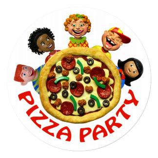 ピザ誕生日のパーティの招待状 13.3 スクエアインビテーションカード