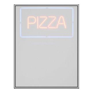 ピザ青及び赤いネオンサイン レターヘッド