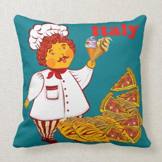 ピザ、アイスクリーム、人イタリアを方向を変えて下さい クッション